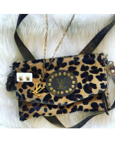 Upcycled Designer Leopard Bag