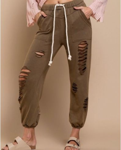 Distressed Joggers (Olive)