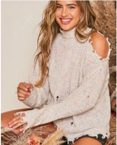 Distressed Sweater (Oatmeal)