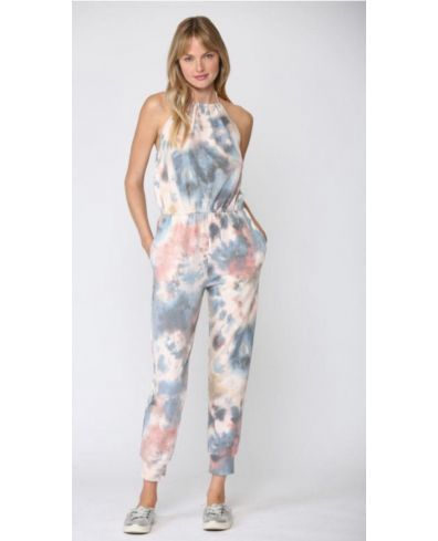 Tie-dyed Print Halter Jumpsuit