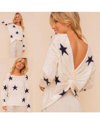 Black Star Twist Back Sweater